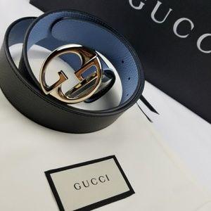 NWT Gucci GG Reversible Black/Blue Belt Size 80/32